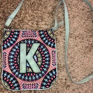 """K"" embroidered crossbody bag"